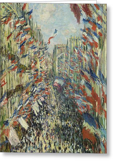 Celebration Art Print Greeting Cards - The Rue Montorgueil in Paris Greeting Card by Claude Monet