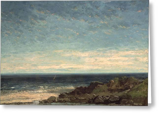 Blue Sailboat Greeting Cards - The Sea Greeting Card by Gustave Courbet