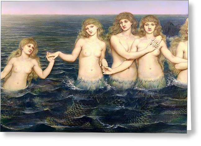 Panoramic Ocean Paintings Greeting Cards - The Sea Maidens Greeting Card by Evelyn De Morgan