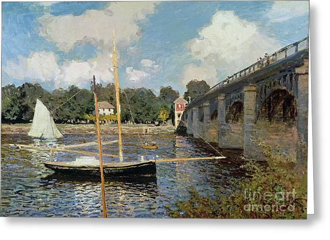 River Boat Greeting Cards - The Seine at Argenteuil Greeting Card by Claude Monet