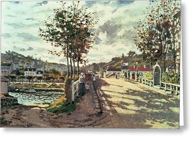 Calm Greeting Cards - The Seine at Bougival Greeting Card by Claude Monet