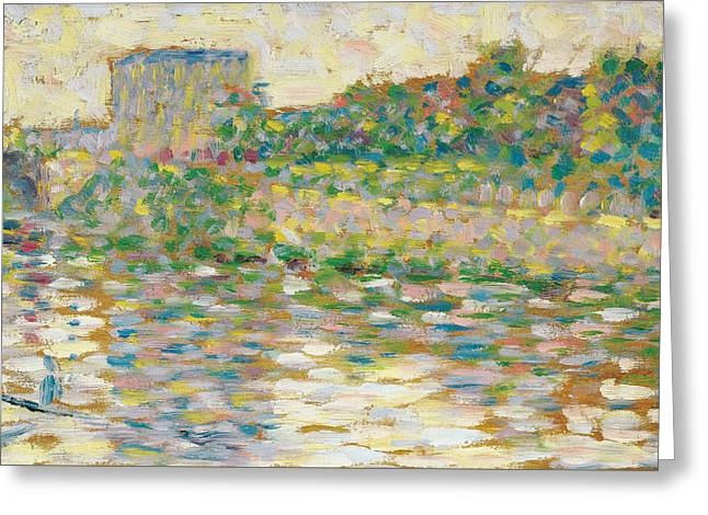 Seurat Greeting Cards - The Seine at Courbevoie  Greeting Card by Georges-Pierre Seurat