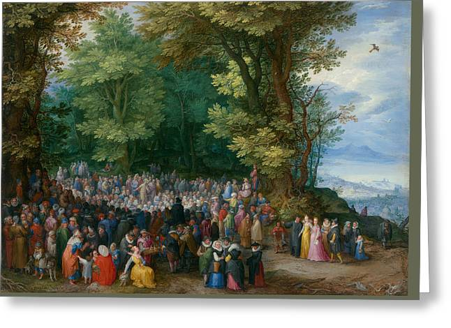 Bible Scene Greeting Cards - The Sermon on the Mount Greeting Card by Jan Brueghel the Elder