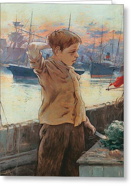 Tall Ships On Water Greeting Cards - The Ships Boy Greeting Card by Adolfo Guiard