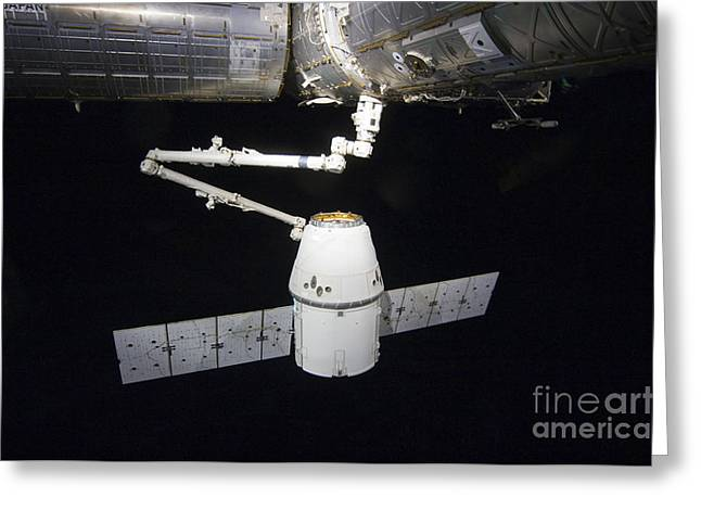 Astronautics Greeting Cards - The Spacex Dragon Cargo Craft Prior Greeting Card by Stocktrek Images