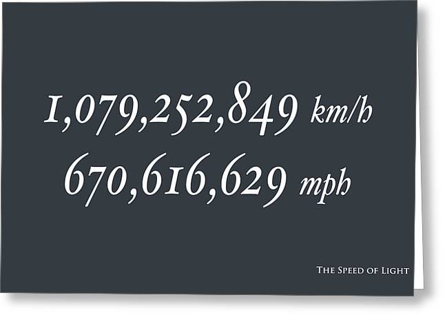 The Speed Of Light Greeting Card by Michael Tompsett