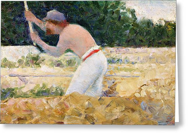 At Work Paintings Greeting Cards - The Stone Breaker Greeting Card by Georges Pierre Seurat