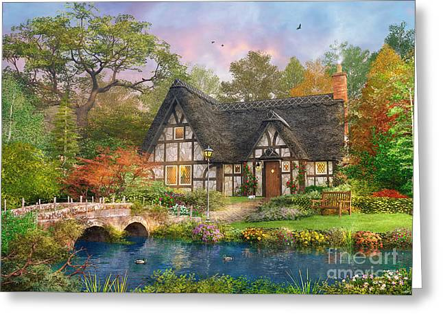 The Stoney Bridge Cottage Greeting Card by Dominic Davison