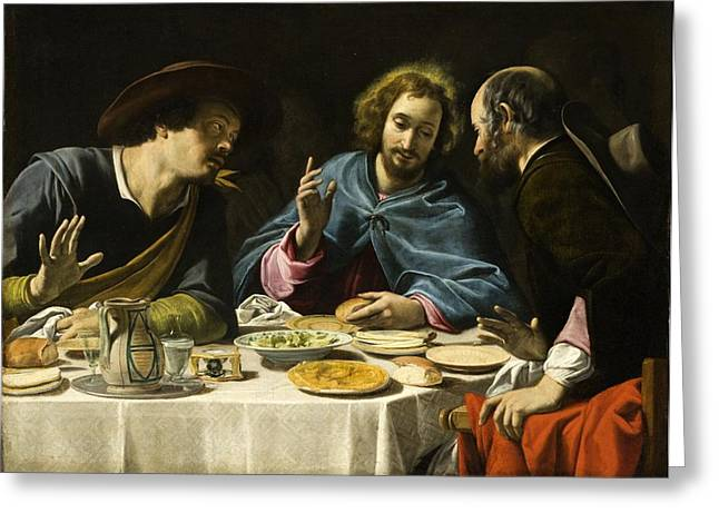 Emmaus Greeting Cards - The Supper at Emmaus Greeting Card by Celestial Images