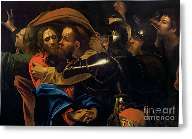 Sword Greeting Cards - The Taking of Christ Greeting Card by Michelangelo Caravaggio