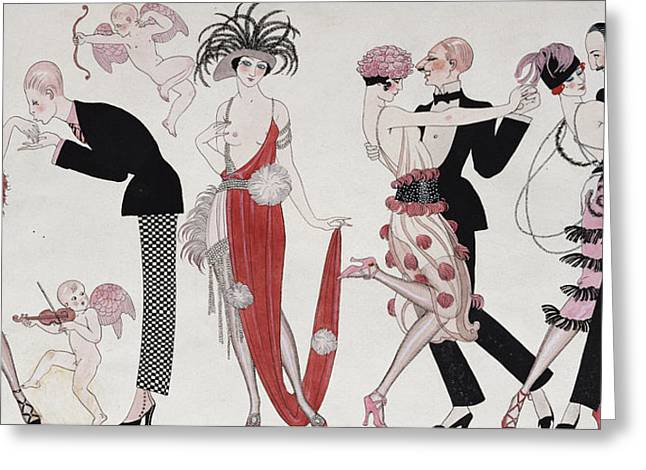 Chest Drawings Greeting Cards - The Tango Greeting Card by Georges Barbier