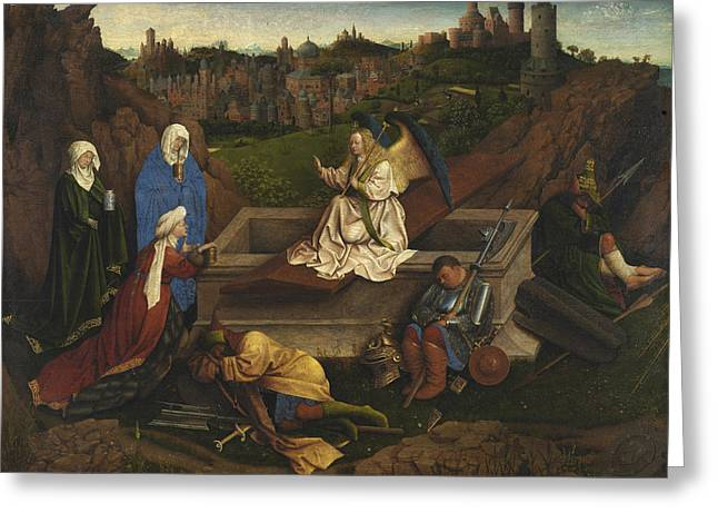 The Three Marys At The Tomb Greeting Card by Jan van Eyck