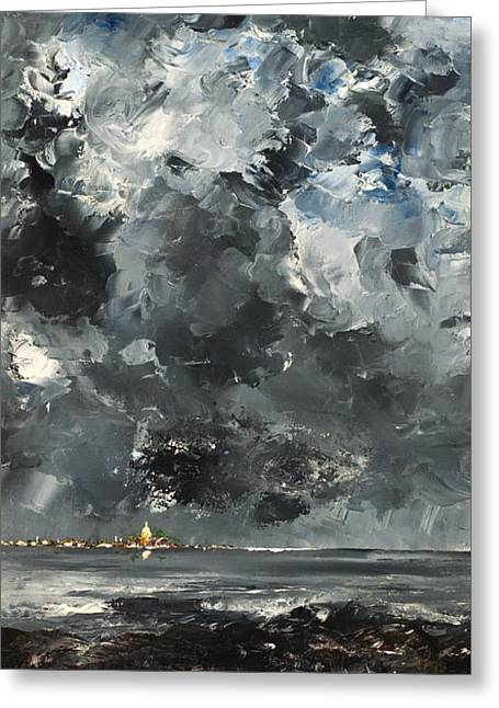 Thunderstorm Paintings Greeting Cards - The Town Greeting Card by August Strindberg