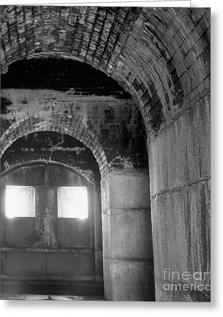 Dungeons Greeting Cards - The Tunnel in Black and White Greeting Card by Shannon Graham