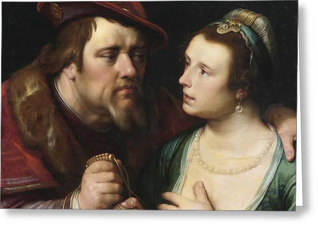 Unequal Greeting Cards - The Unequal Lovers Greeting Card by Cornelis Cornelisz van Haarlem