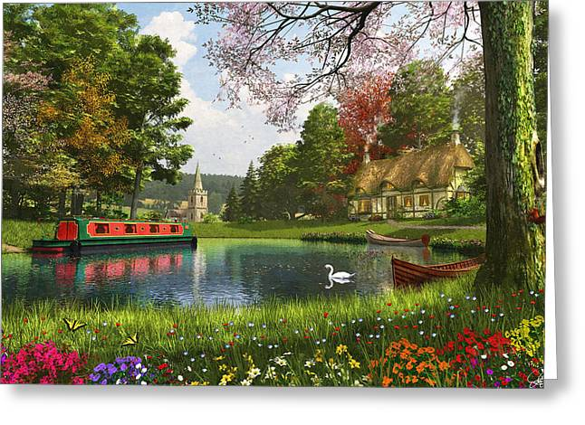 English Cottages Greeting Cards - The Valley Cottage Variant 1 Greeting Card by Dominic Davison