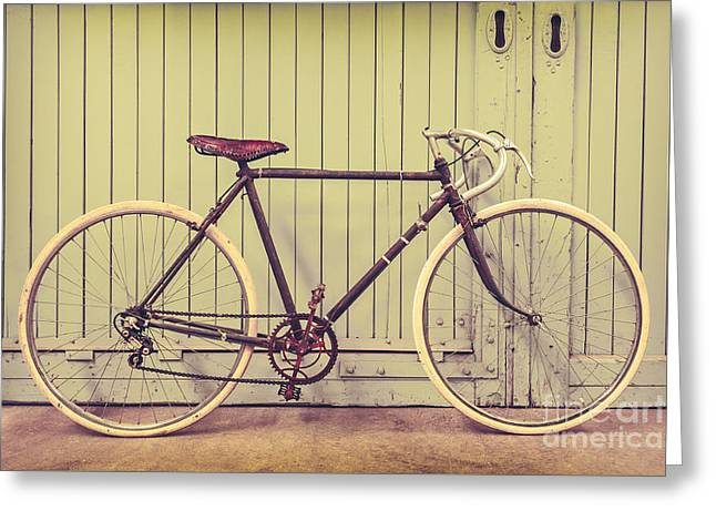 Industrial Background Greeting Cards - The Vintage Racing Bike Greeting Card by Martin Bergsma