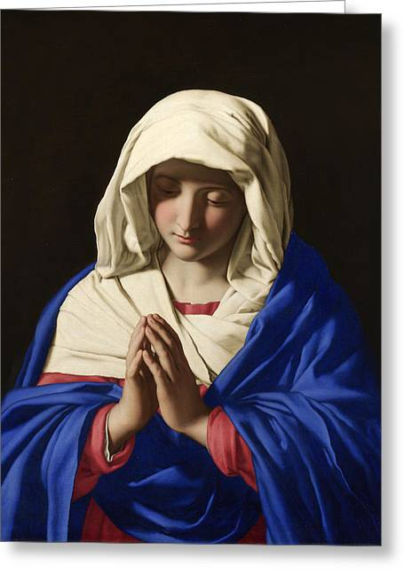 Religious Paintings Greeting Cards - The Virgin in Prayer Greeting Card by Il Sassoferrato