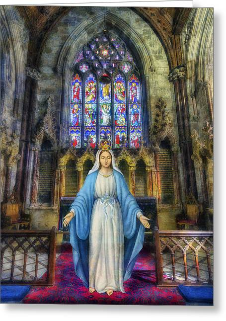 The Virgin Mary Greeting Card by Ian Mitchell