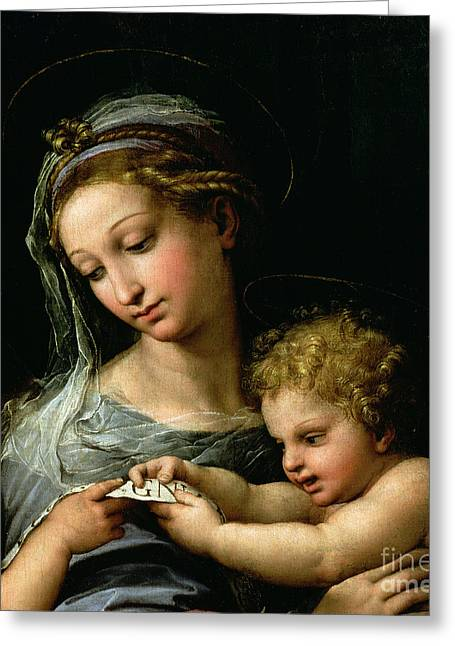 Children Greeting Cards - The Virgin of the Rose Greeting Card by Raphael