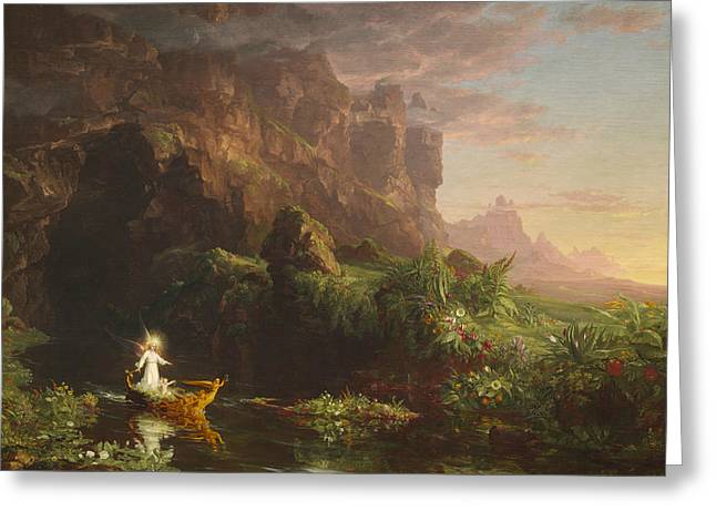 The Voyage Of Life, Childhood Greeting Card by Thomas Cole