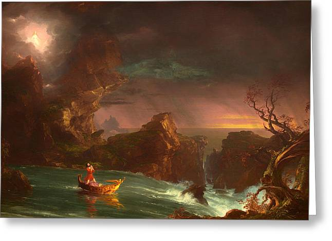 Manhood Greeting Cards - The Voyage Of Life - Manhood Greeting Card by Thomas Cole