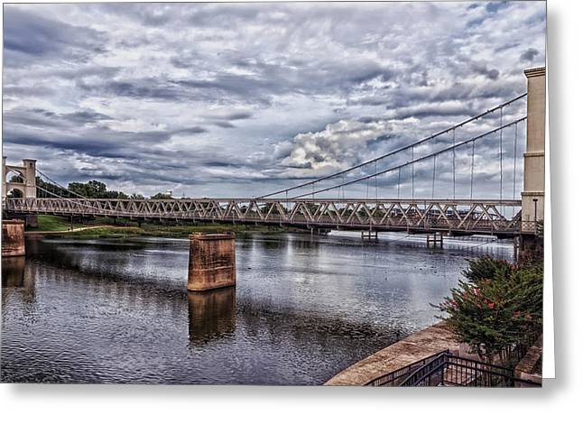 Waco Greeting Cards - The Waco Suspension Bridge over the Brazos River Greeting Card by Mountain Dreams