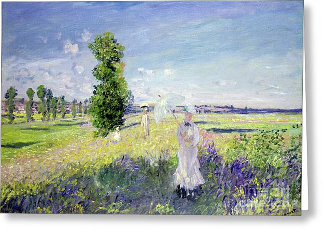 Figure In Oil Greeting Cards - The Walk Greeting Card by Claude Monet