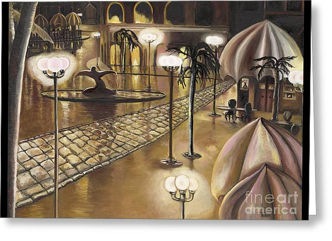 Night Cafe Greeting Cards - The Walkway Greeting Card by Toni  Thorne