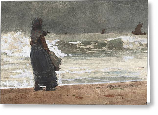 The Watcher, Tynemouth Greeting Card by Winslow Homer