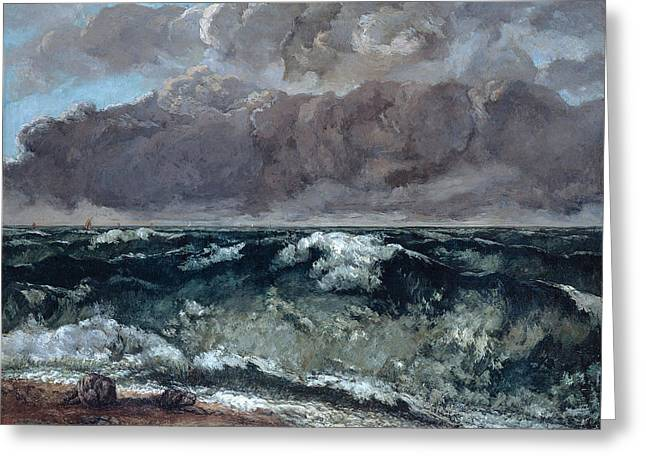 The Wave La Vague Greeting Card by Gustave Courbet