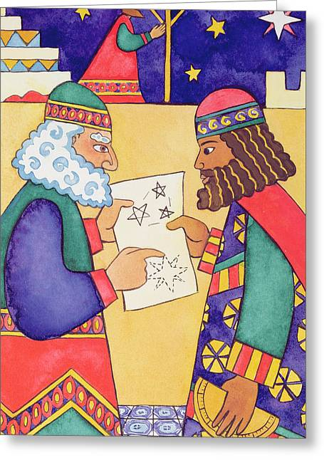 The Wise Men Looking For The Star Of Bethlehem Greeting Card by Cathy Baxter