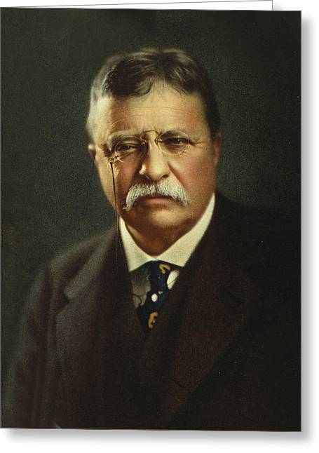 Famous People Photographs Greeting Cards - Theodore Roosevelt - President of the United States Greeting Card by International  Images