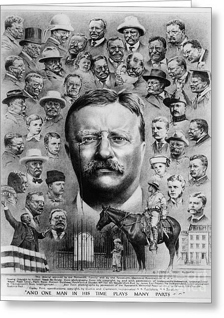President Of America Drawings Greeting Cards - Theodore Roosevelt Greeting Card by Granger