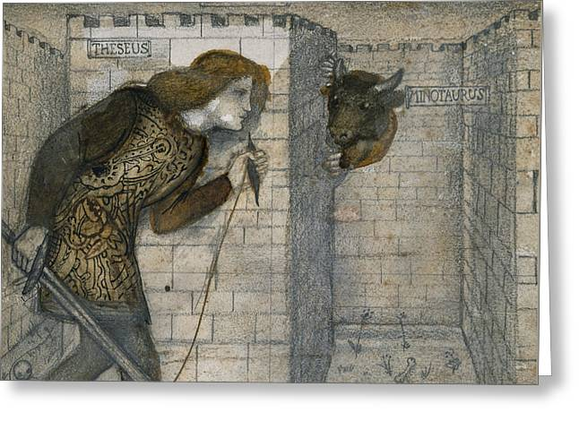 Minotaur Greeting Cards - Theseus and the Minotaur in the Labyrinth Greeting Card by Edward Burne-Jones