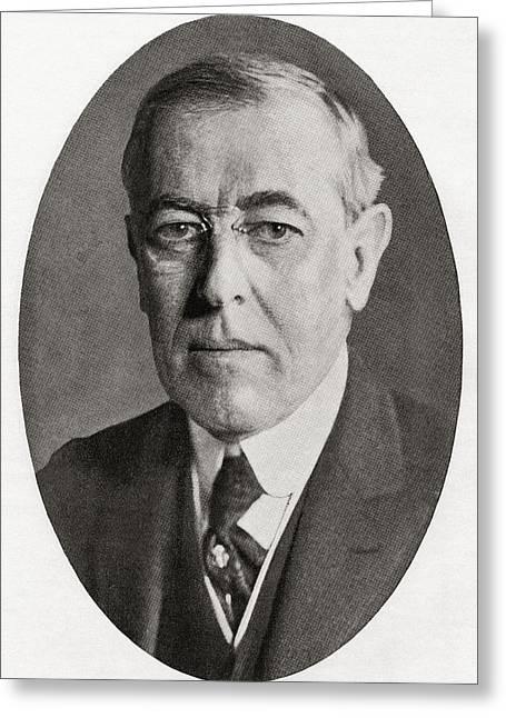 Thomas Woodrow Wilson, 1856 Greeting Card by Vintage Design Pics