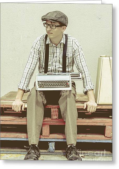 Suspenders Greeting Cards - Thoughts of a creative writer  Greeting Card by Ryan Jorgensen