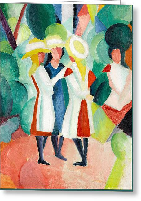 Three Girls In Yellow Straw Hats Greeting Card by August Macke