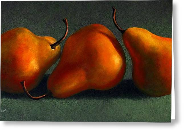Fruit Food Greeting Cards - Three Golden Pears Greeting Card by Frank Wilson