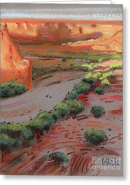For Sale Drawings Greeting Cards - Three Horses in the Arroyo Greeting Card by Donald Maier