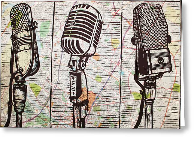 Best Sellers -  - Lino Greeting Cards - Three Microphones on Map Greeting Card by William Cauthern