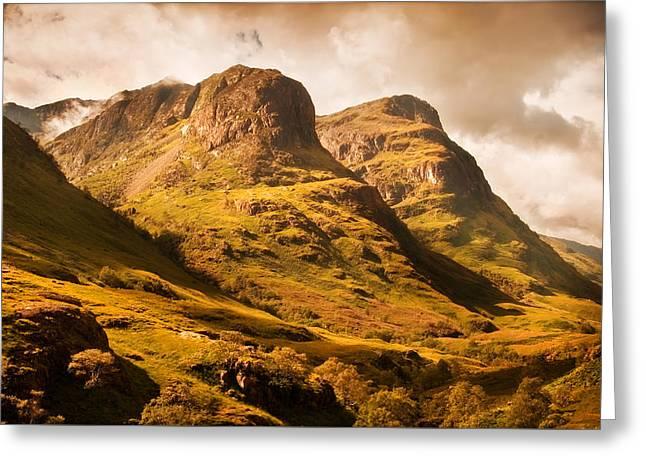 Glencoe Wall Art Greeting Cards - Three Sisters. Glencoe. Scotland Greeting Card by Jenny Rainbow