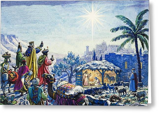 Star Of Bethlehem Paintings Greeting Cards - Three Wise Men Greeting Card by Unknown