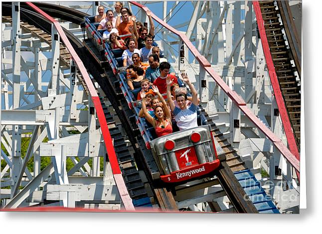 Thuderbolt Roller Coaster Kennywood Park Greeting Card by Amy Cicconi