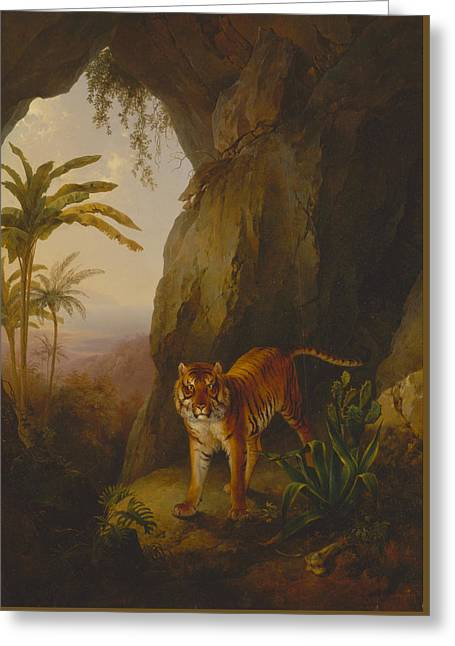Caves Greeting Cards - Tiger in a Cave Greeting Card by Jacques-Laurent Agasse