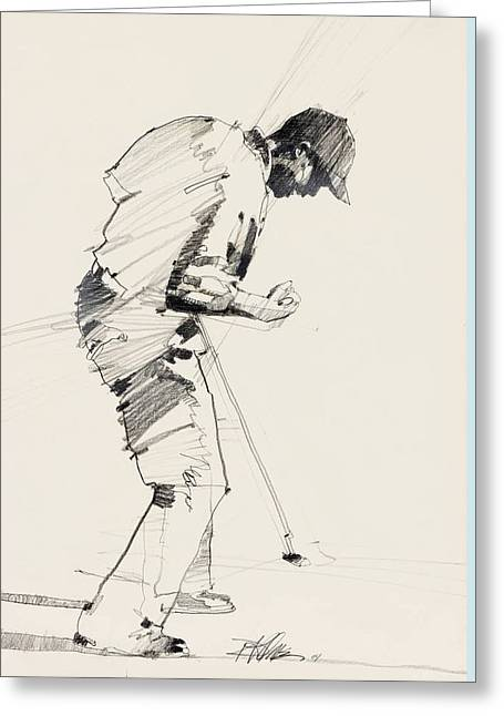 Us Open Mixed Media Greeting Cards - Tiger Woods Greeting Card by David Kilmer