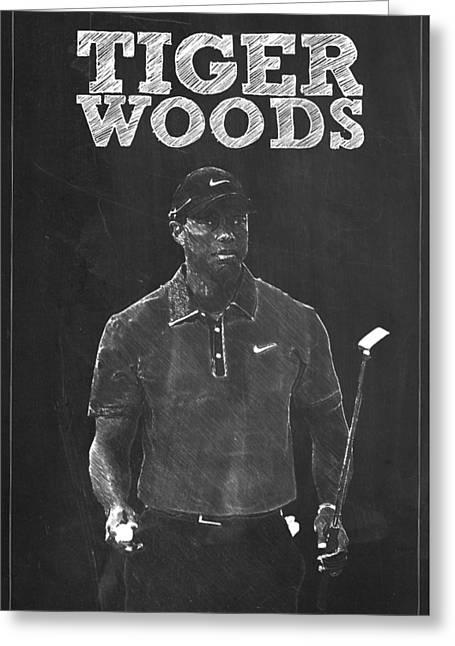 Tiger Woods Greeting Card by Semih Yurdabak