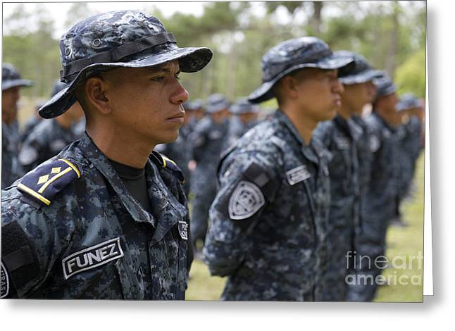 Tigres Commandos Stand In Formation Greeting Card by Stocktrek Images