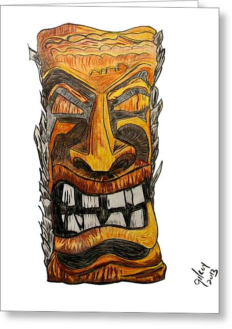 Tiki Art Greeting Card by W Gilroy