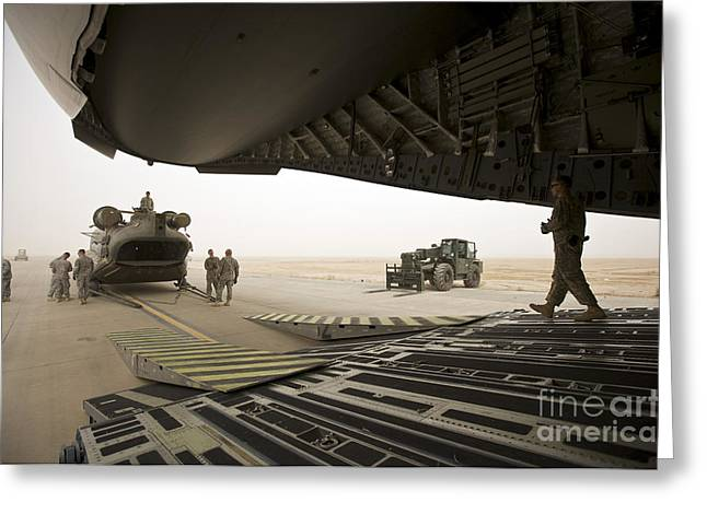 Iraq Greeting Cards - Tikrit, Iraq - A Ch-47 Chinook Greeting Card by Terry Moore